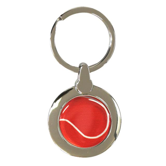 円形キーホルダー テニスボール柄【レッド(赤/銀)】