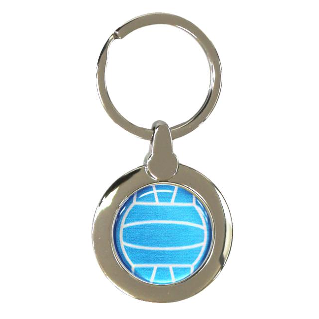 円形キーホルダー バレーボール柄【ブルー(青/銀)】