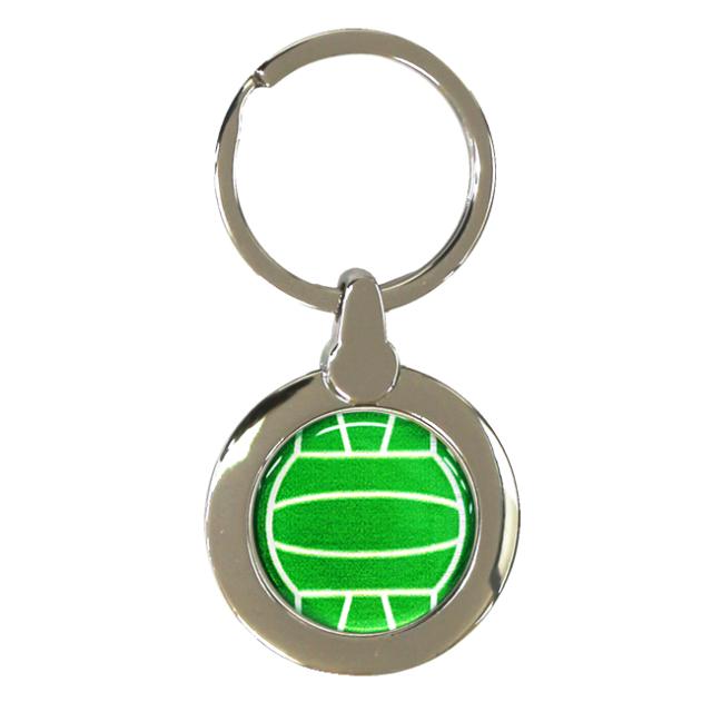 円形キーホルダー バレーボール柄【グリーン(緑/銀)】