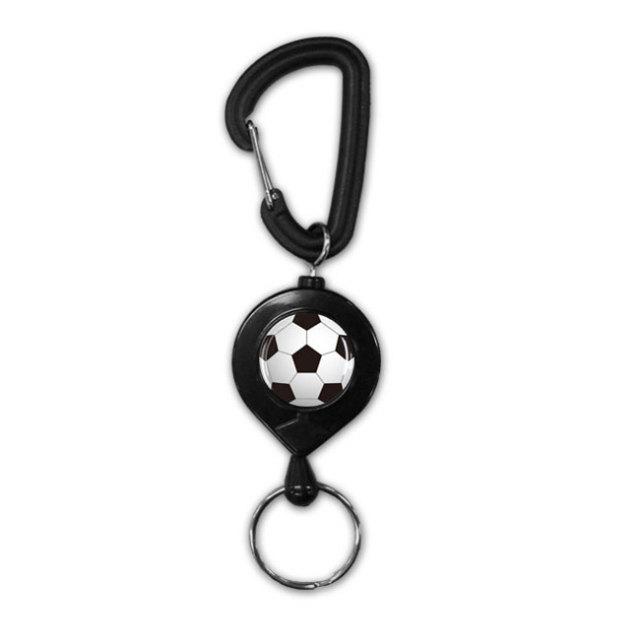 黒リールキーホルダー サッカーボール柄
