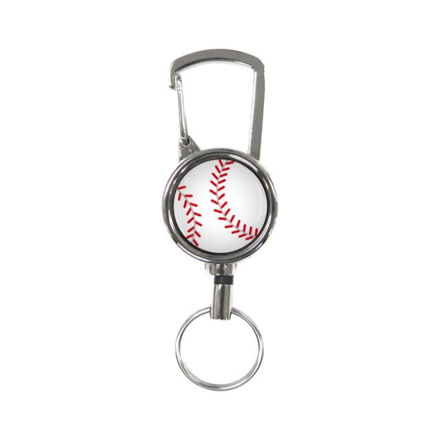 シルバーリールキー 野球ボール柄