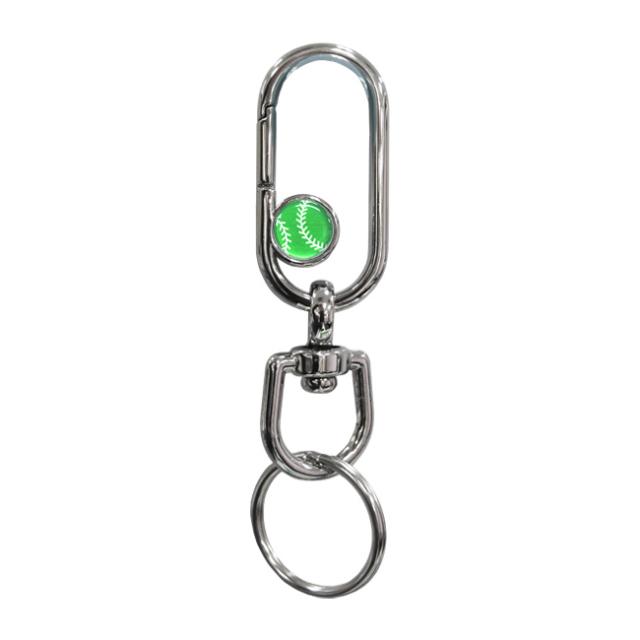 ナスカンキーホルダー 野球ボール柄 グリーン(緑銀)商品