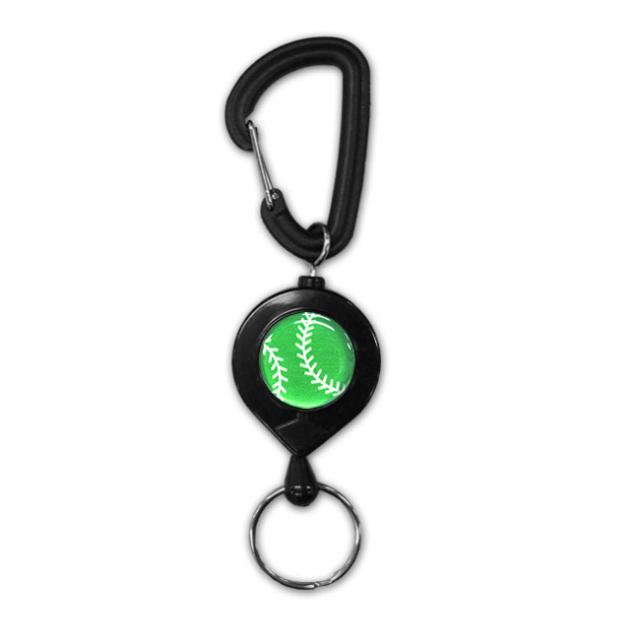 黒リールキー 野球ボール柄【グリーン(緑/銀)】