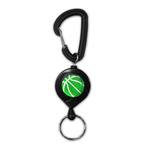 黒リールキー バスケットボール柄【グリーン(緑/銀)】