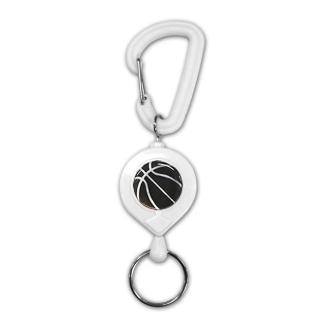 白リールキー バスケットボール柄【ブラック(黒/銀)】