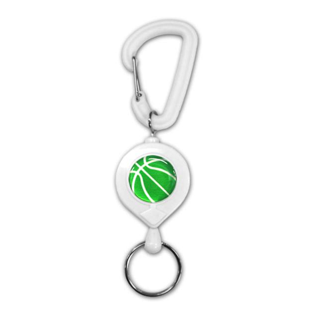 白リールキー バスケットボール柄【グリーン(緑/銀)】