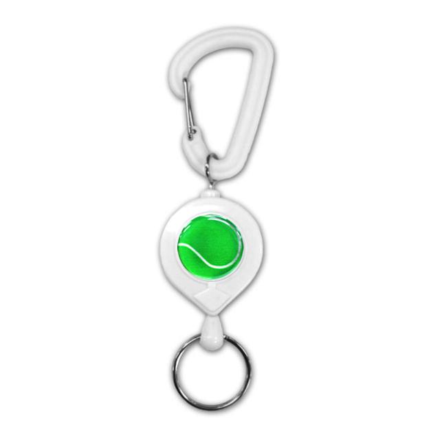 白リールキー テニスボール柄【グリーン(緑/銀)】