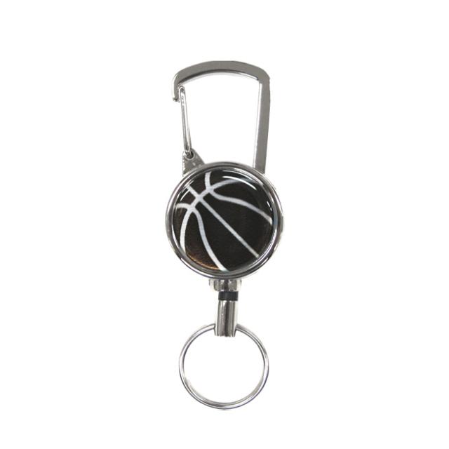 シルバーリールキー バスケットボール柄 ブラック(黒銀)商品