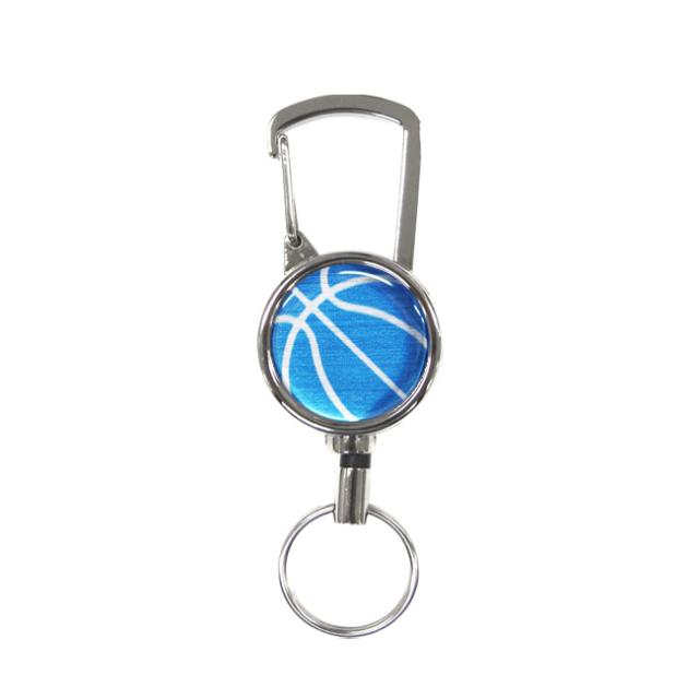 シルバーリールキー バスケットボール柄 ブルー(青銀)商品