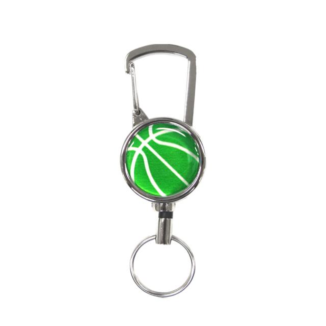 シルバーリールキー バスケットボール柄 グリーン(緑銀)商品
