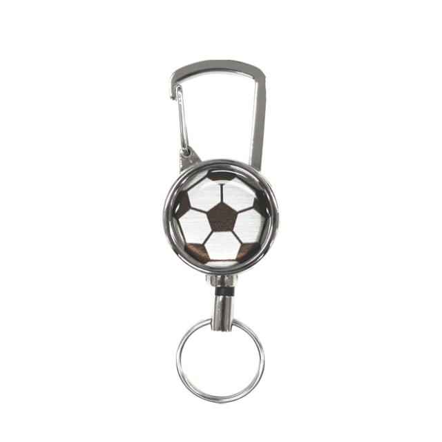 シルバーリールキー サッカーボール柄 ブラック(黒銀)商品