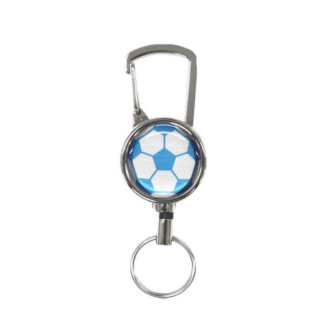 シルバーリールキー サッカーボール柄 ブルー(青銀)商品