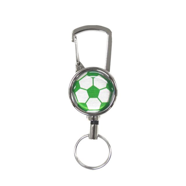 シルバーリールキー サッカーボール柄 グリーン(緑銀)商品