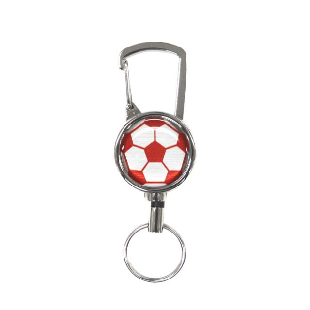 シルバーリールキー サッカーボール柄 レッド(赤銀)商品