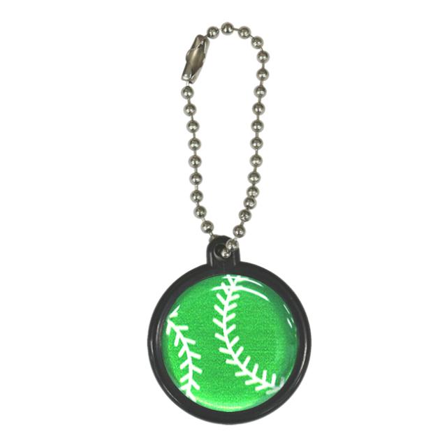 ストラップ 野球ボール柄【グリーン(緑/銀)】