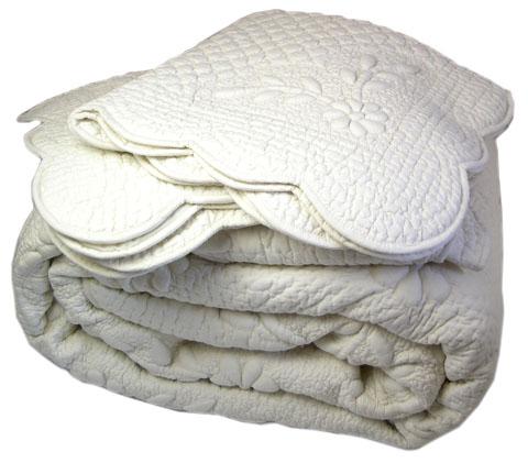マリネットMARINETTE  ブティBOUTIS キルトベッドカバー、ベッドスプレッド 240×260cmサイズ(ELENA・アイボリー)CVR_BT_LIT05