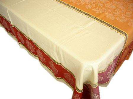 プロヴァンステーブルクロスジャガード織りテフロン撥水加工 Marat d'Avignon マラダヴィニョン(カプリス・クリームイエロー×オレンジ)160×200cmサイズ【フランス】 NAP_20_175e