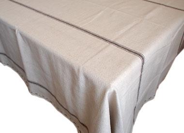 リネン麻プロヴァンステーブルクロス160×260cmサイズ(CHANVRE・ショコラ)【フランス】 NAP_25_147
