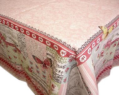 正方形テーブルクロス:トップクロスジャガード織り145×145cmサイズ(ALLEGORY アルゴリー・ローズ)【フランス】NAP_C76::他サイズお取り寄せ可能