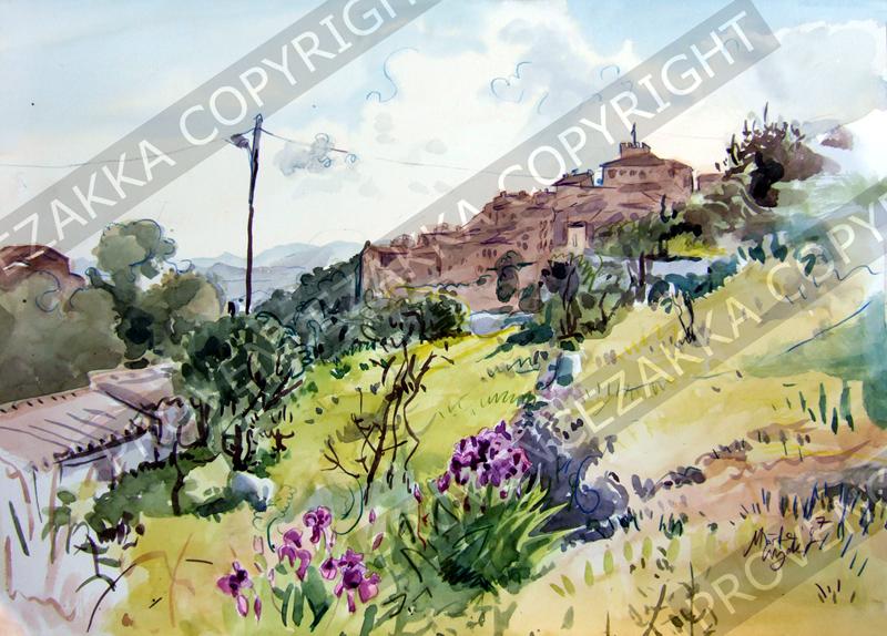 プロヴァンス風景絵画(Tourette-sur-Loup トゥーレット・シュー・ルー) PT_MRT_02