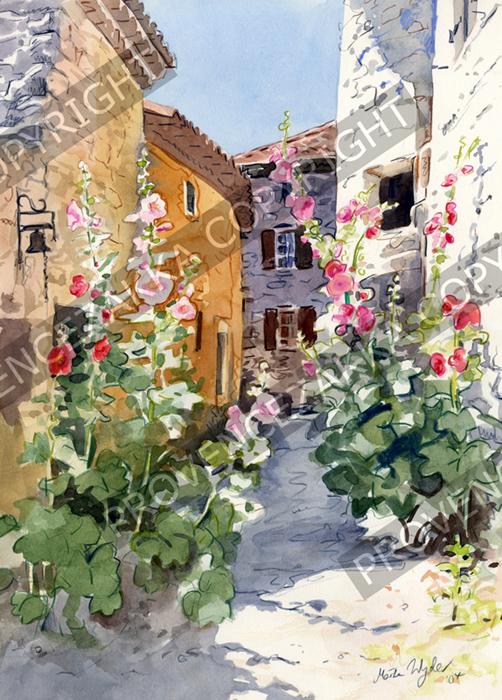 プロヴァンス風景絵画(Rose tremiere en Provence プロヴァンスのアチアオイ)PT_MRT_07