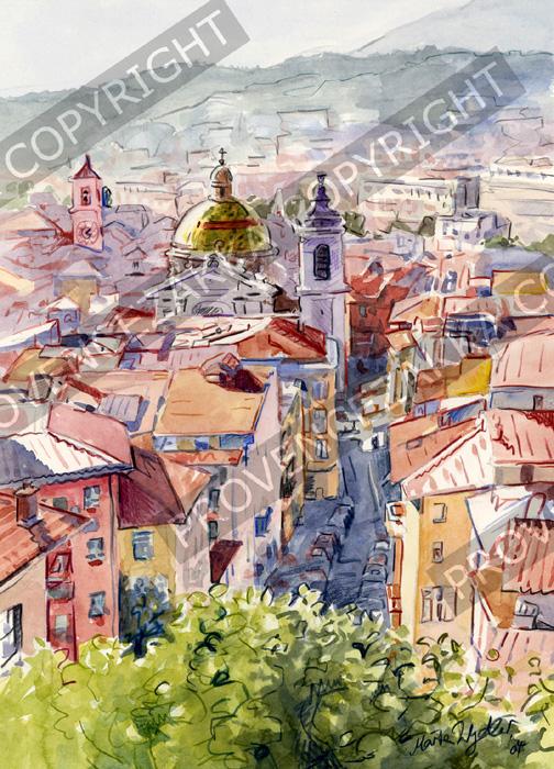 プロヴァンス風景絵画(Nice ニース, シャトー城跡公園から見る旧市街ロセッティ広場)PT_MRT_16