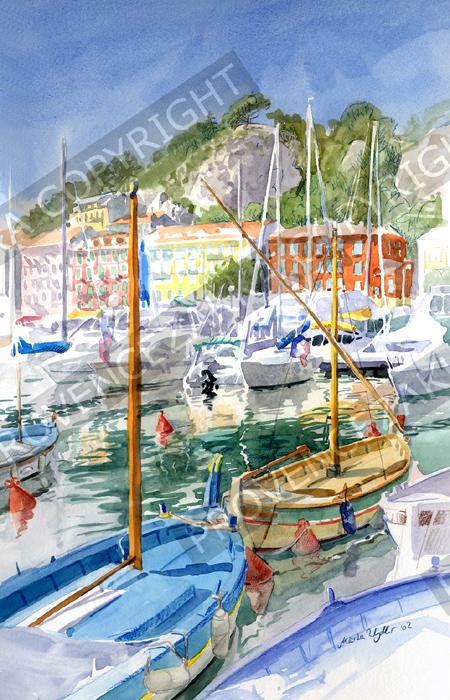 プロヴァンス風景絵画(Nice ニース, 旧港とボート)PT_MRT_18