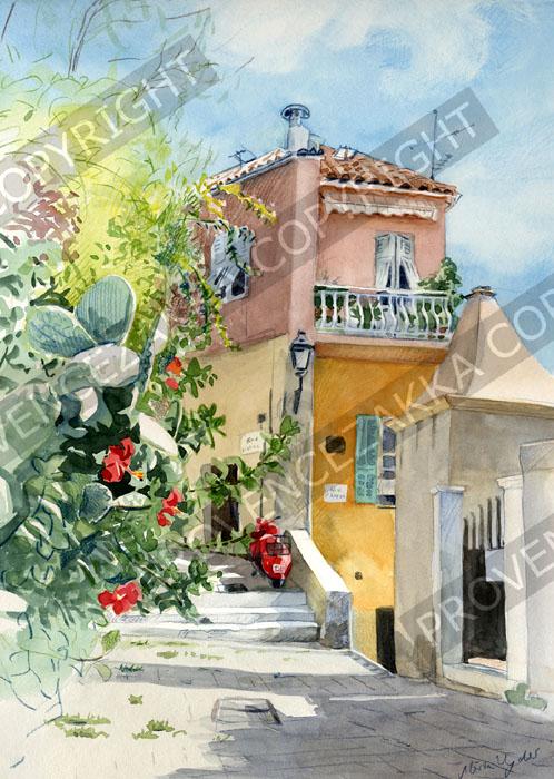プロヴァンス風景絵画(Villefranche ヴィルフランシュ, ある小道) PT_MRT_28