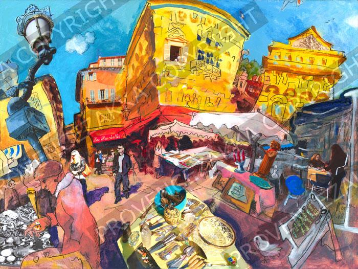 プロヴァンス風景絵画(Nice ニース, 旧市街アンティーク市・ブロカント) PT_MRT_33