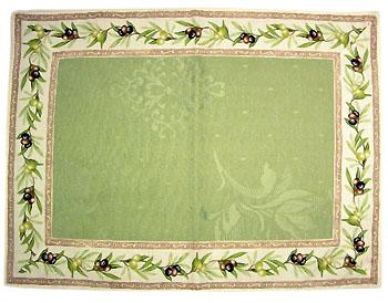 ジャガード織りティーマットデラックス(オリーブ2005・グリーン)【フランス】SET_JQ06
