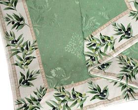 正方形テーブルクロス:トップクロスジャガード織り&プロヴァンス生地フレームクロス160×160cmサイズ(オリーブ・オフホワイト×ミントグリーン)【フランス】NAP_C38::他サイズお取り寄せ可能