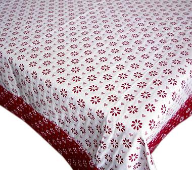 正方形テーブルクロス:トップクロスジャガード織り132×132cmサイズ【フランス】(フルール&クール・ホワイト×ボルドー)【フランス】 ノルディック柄 NAP_C52