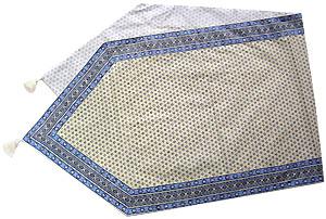 ポンポン付き(タッセル)付きフレームテーブルランナー45×150cmサイズ(ルールマラン・ホワイト×ブルー)CHM_P08  【フランス】