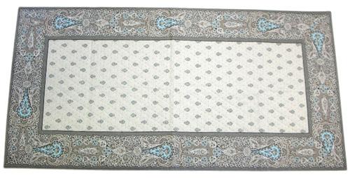 プロヴァンス柄キルトテーブルランナー50×100cmサイズ  Marat d'Avignon マラダビニョン(バスティード・ターコイズ) CHM_T06 【フランス】