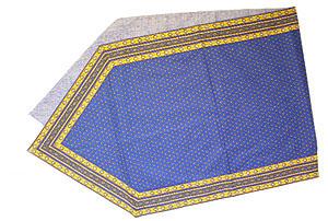 6角形フレームテーブルランナー45×150cmサイズ(ルールマラン・ブルー×イエロー)CHM_P28 【フランス】