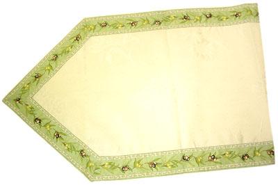 6角形フレームテーブルランナー45×150cmサイズ(オリーブ2005・ミントグリーン)CHM_31 【フランス】