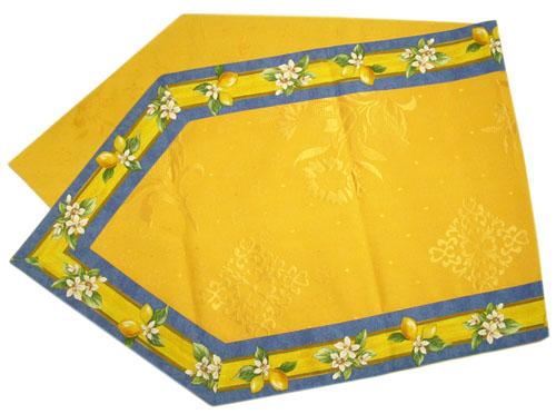 6角形フレームテーブルランナー45×150cmサイズ(レモン&小花柄・ブルー) CHM_51 【フランス】
