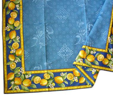 ジャガード織りプリント柄フレームマルチカバー、フレームクロス正方形、長方形全6サイズ【フランス】(レモン&小花・ブルー)CVR_17::【オーダーメイドも】