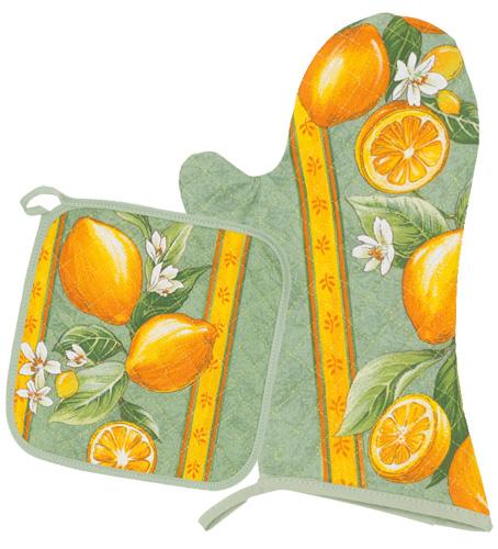 キッチングローブ*ミトン&正方形鍋つかみセット(レモン&小花柄・ミントグリーン)GAN_S44