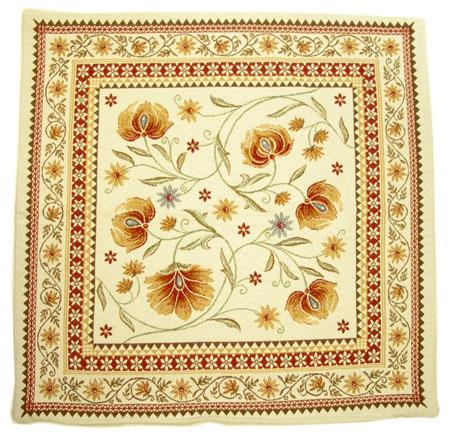 ジャガード織り SILLANS シヤン クッションカバー花柄(ホワイト×オレンジレッド) 45×45cmサイズ【フランス製】 HOU_JQD11