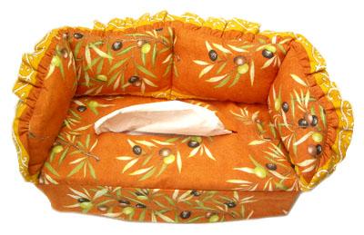 プロヴァンス柄ティッシュケース、カバー(オリーブ2005・テラコッタオレンジ)KLNX_CNP12