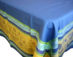 プロヴァンステーブルクロスジャガード織りテフロン撥水加工 Marat d'Avignon マラダヴィニョン(アルル・ブルー×イエロー)全5サイズ【フランス】 NAP_25_273e