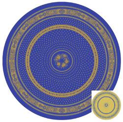 ラウンド・円形テーブルクロス丸テーブル円卓用ジャガード織りテフロン撥水加工直径230cmサイズ【リバーシブル】Marat d'Avignon マラダヴィニョン(バスティード・ブルー×イエロー)【フランス】NAP_R170e