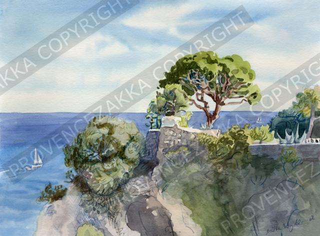 プロヴァンス風景絵画(NICE ニース, シャトー城跡公園と海)PT_MRT_01