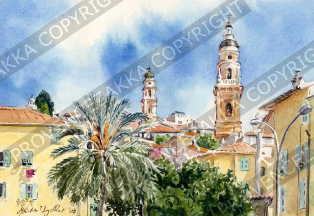 プロヴァンス風景絵画(Menton サンミッシェル教会と白苦業会礼拝堂の見える風景) PT_MRT_26