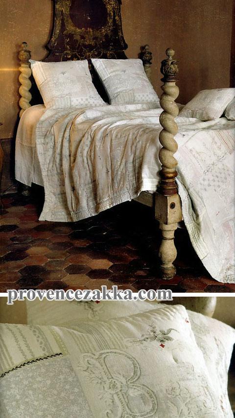 マリネットMARINETTE  ブティBOUTIS リネン麻キルトベッドカバー、ベッドスプレッド 180×260cmサイズ(SYMPHONIE・グレーベージュ×レッド) CVR_BT_LIT12