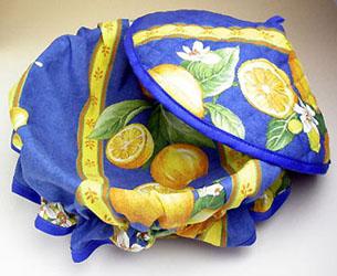 フタ付きブレッドバスケット、パンかご(レモン&小花・ブルー)PAN_C14