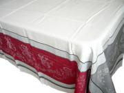 プロヴァンステーブルクロスジャガード織りテフロン撥水加工(ロマンティック・グレー×レッド)全5サイズ【フランス】 NAP_20_200e