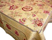 正方形テーブルクロス:トップクロスジャガード織り145×145cmサイズ(GARANCE ガランス・バニラ×グリーン)【フランス】NAP_C75::他サイズお取り寄せ可能