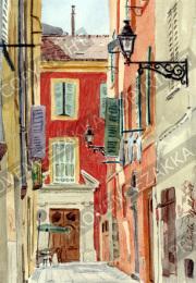 プロヴァンス風景絵画(Nice ニース, 旧市街ジュス通り )PT_MRT_11